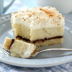 Coconut Cream Pie Bars with a layer of rich, dark ganache and a shortbread crust.