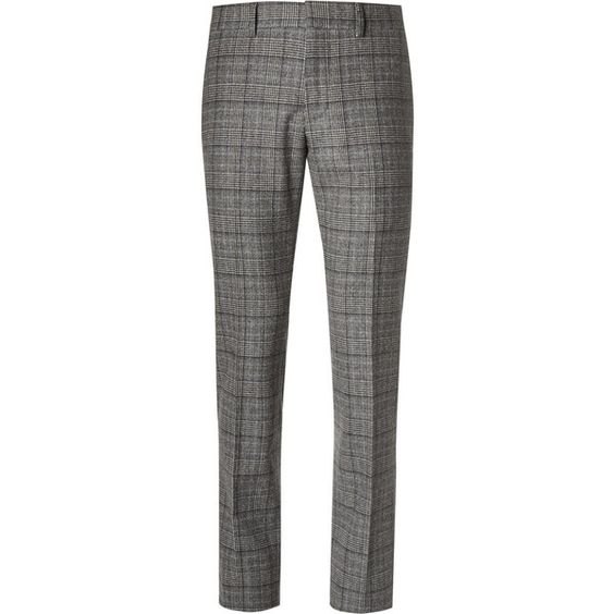 Gucci Slim-Fit Checked Wool Trousers ($650) ❤ liked on Polyvore featuring men's fashion, men's clothing, men's pants, men's dress pants, mens wool pants, mens gray dress pants, mens checkered pants, mens gray pants and mens slim fit dress pants