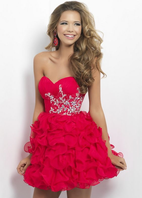 Red Short Strapless Beaded Top Ruffled Homecoming Dress  Dresses ...