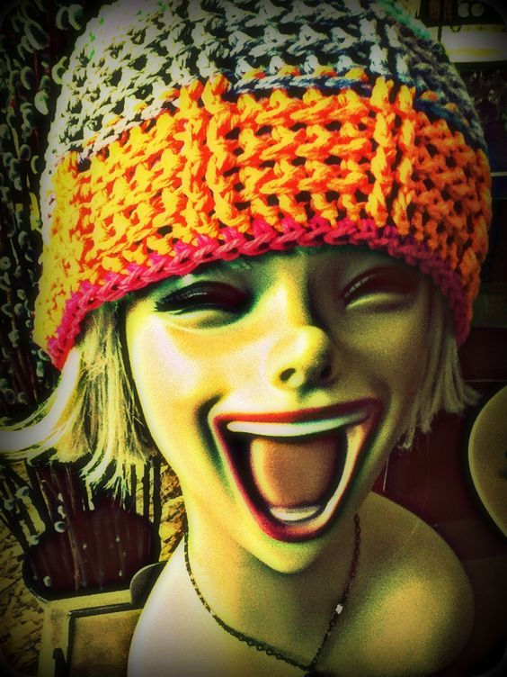 A dummy head with a crochet hat
