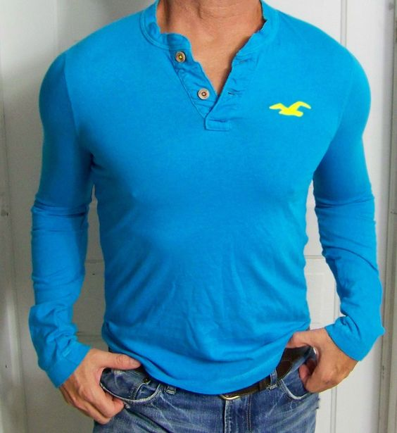 mens - HOLLISTER shirt - S - CALIFORNIA - HENLEY - BIG SEAGULL - Blue - L/S https://t.co/fg4MgrJvke https://t.co/z8arDKPaCm