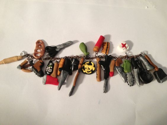 Zombie Slaying Charm Bracelet  by CaitsCutzieCharms on Etsy, $40.00