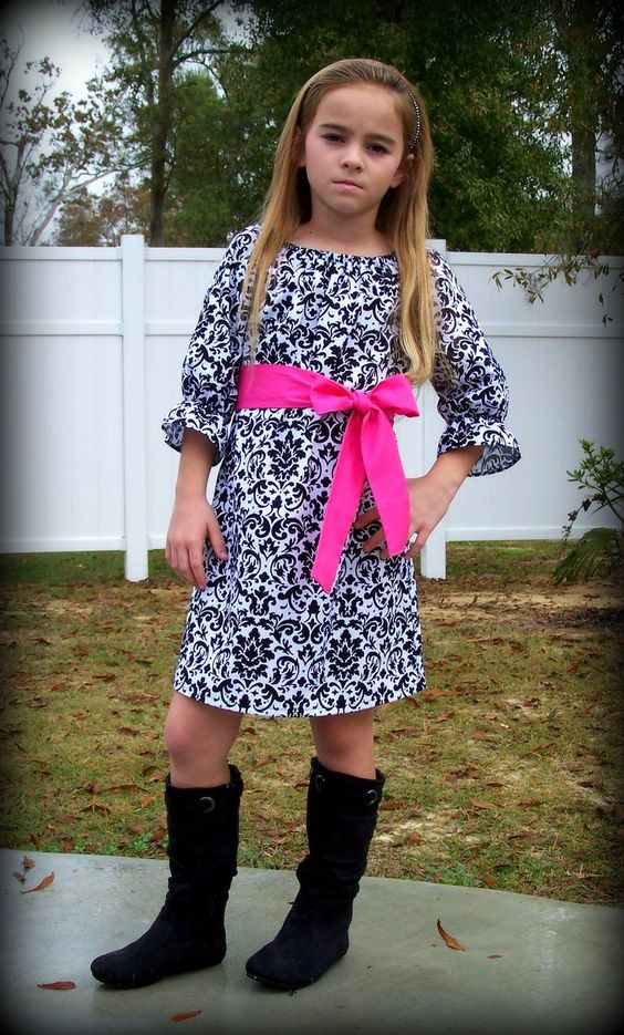 Custom Boutique Clothing Girls Dress Black and by sewsweetsmocking, $43.00