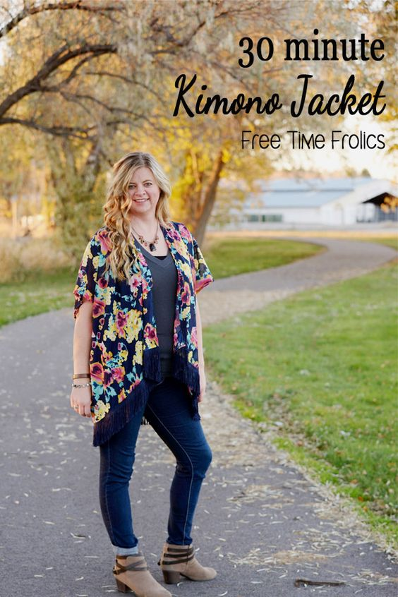 30 minute Floral Kimono Diy. An easy way to make a simple kimono jacket for dressing up, the beach or around town. Add fringe for a little flair.
