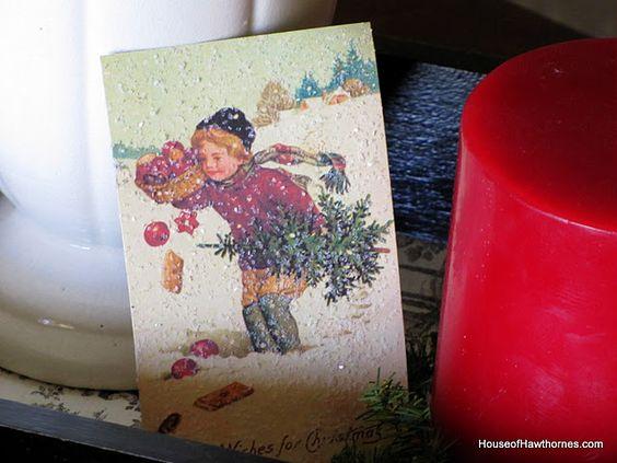 Christmas postcard printed with glitter