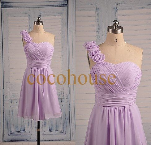 New Short Lilac Chiffon Bridesmaid Dresses Simple by cocohouse, $66.00