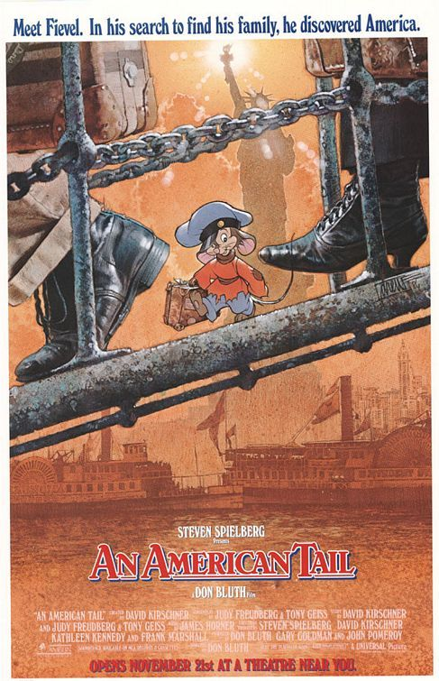 'An Ameican Tale' was the first animated film that I remember seeing at the movies with my mother. I remember feeling an overwhelming sense of saddness as Fievel searched for his family in the unfamiliar surrounds of America...the song, 'Somewhere out there' (if thats the title) still brings tears today. The power of moving pictures aye?!