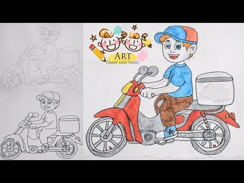 Art Draw And Paint How To Draw Food Delivery Boy With Motor Bike St Food Drawing Drawings Step By Step Drawing