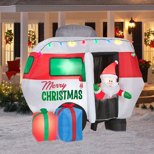 5 5 39 tall x 4 5 39 long animated airblown santa in camper for Animated snowman decoration