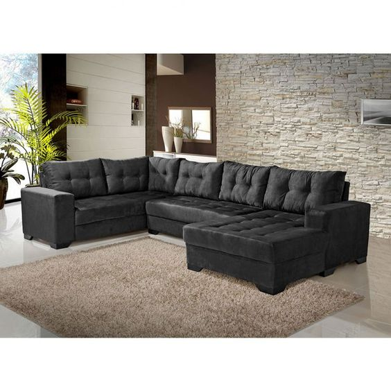 Conjunto de sof de canto 5 lugares bia com chaise preto for Sofa 5 lugares com chaise
