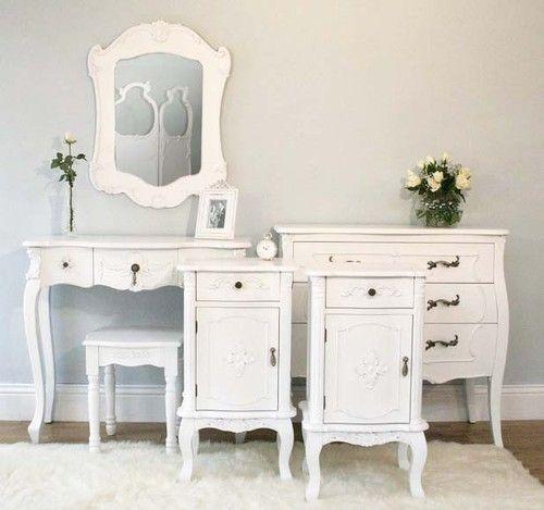 White Rococo Bedroom Furniture Set, White French Bedroom Furniture Sets Uk