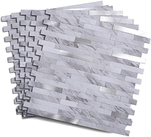 New Peel Stick Backsplash Tile Faux Volakas White Stone Wall Backsplash 5 Tiles Online Goodlucktou In 2020 Peel Stick Backsplash Stone Wall Woven Wood Blind