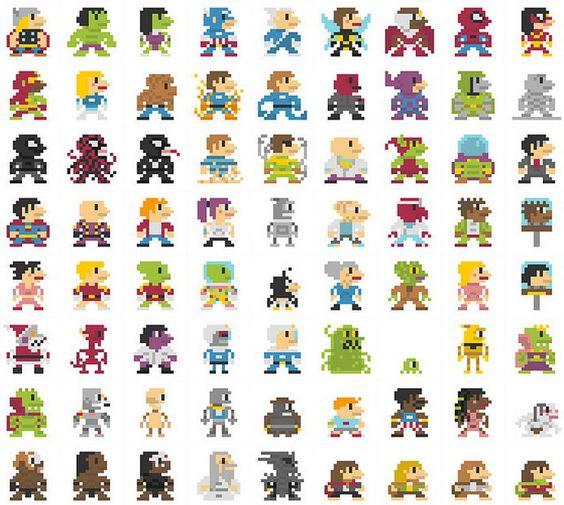 06-696 personajes clásicos geeks versión 8-Bits.