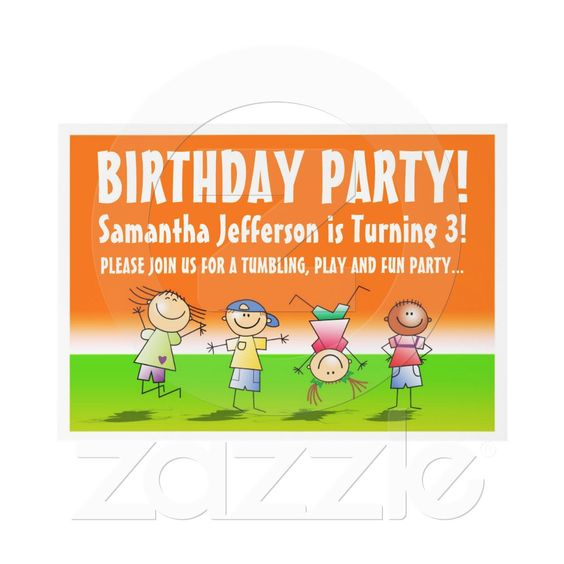 Cute Tumbling Gym Birthday Party Invitations as low as 076 in – Bulk Party Invitations