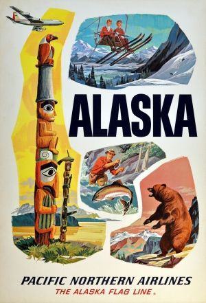 Alaska Pacific Northern Airlines, 1950s - original vintage poster listed on AntikBar.co.uk