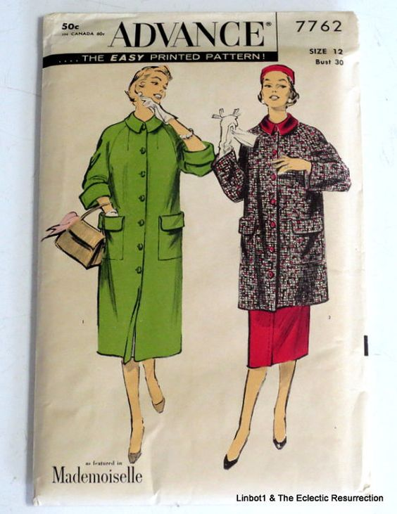 Uncut Vintage 1950s Coat & Skirt Pattern Bust 30 by linbot1
