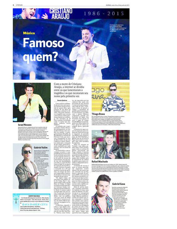 Matéria sobre a morte do cantor Cristiano Araújo no jornal O Popular em junho de 2015
