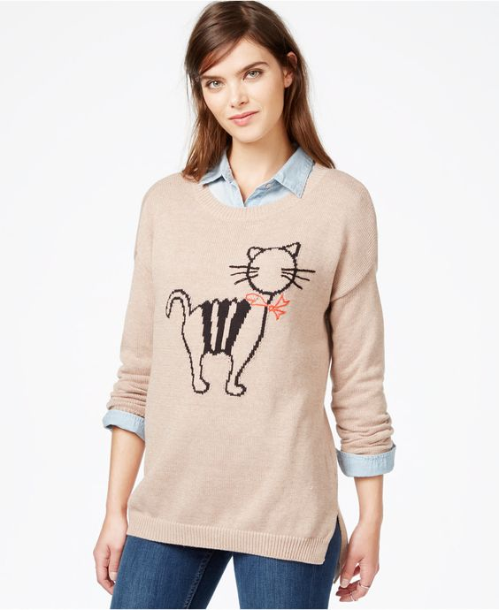 Our favorite print is back! Bring a little fun fashion to your wardrobe with our new and improved cat print sweater. Layer this piece over your favorite oxford shirt to step up your cold weather wear.: