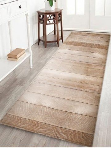 Wooden Board Pattern Flannel Anti Skid Area Rug Rugs