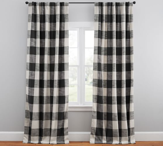 Bryce Check Curtain Pottery Barn Check Curtains Curtains Living Room Decor Curtains