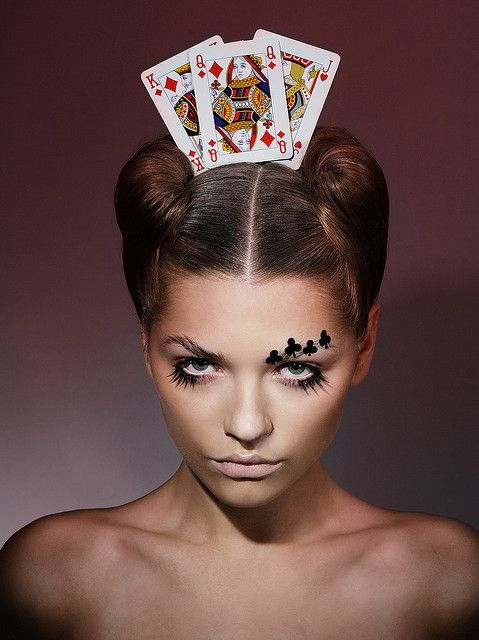 Make-Up/Hair - with some adjustments, that could make a wonderful Queen of Hearts look for 'Alice in Wonderland'