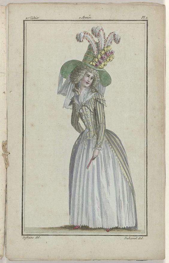 Magasin des Modes Nouvelles Françaises et Anglaises, 10 août 1787, 27e cahier, 2e année, Pl. 1, A.B. Duhamel, Buisson, 1787