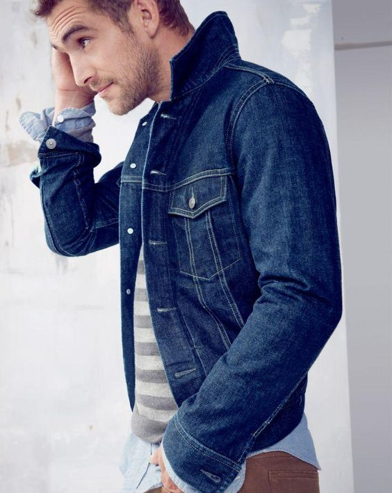 J.Crew jean jacket and cotton-cashmere sweater. |   HIM   ...