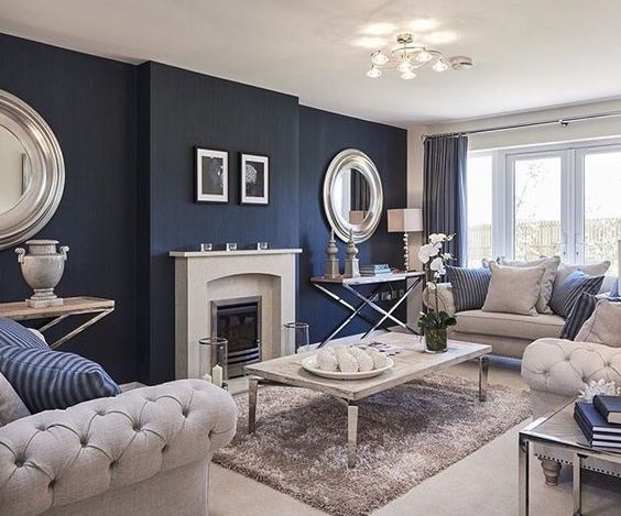 Blue color living room design with indoor fireplace ideas