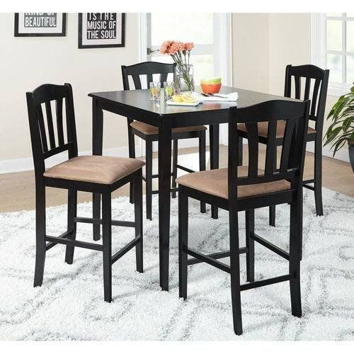 14th Mobility Square Counter Height 5 Piece Dining Set With One Brown Wooden Construction Table And Four Pub Set Counter Height Dining Sets 5 Piece Dining Set
