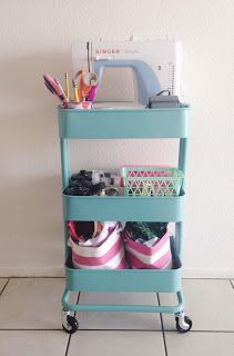 Portable sewing station using Raskog utility cart from Ikea.