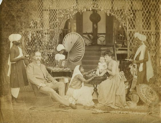 European family with servants in India c1880's