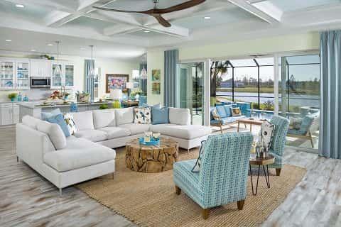 A Great Room In The Aruba Home Plan At Latitude Margaritaville In Daytona Beach Florida Beach House Decor Coastal Living Rooms House Design