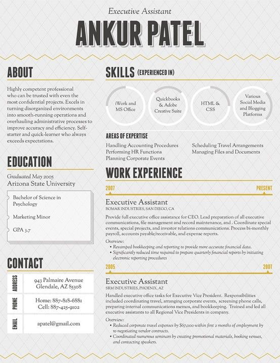 I design Infographic Resumes - check out my portfolio by clicking ...