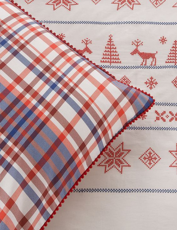 Christmas Reindeer Cross Stitch Bedding Set