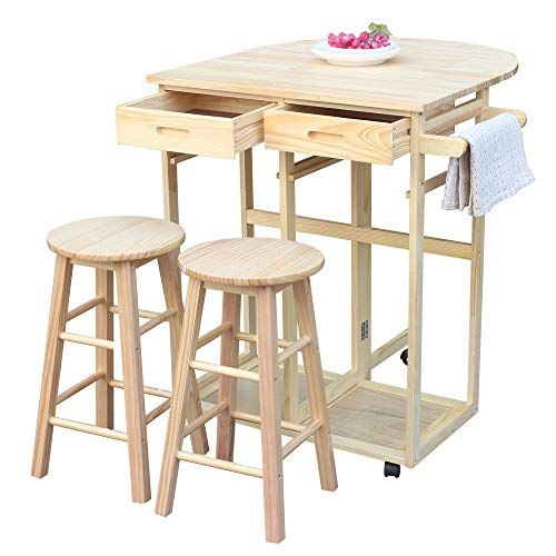 Brown 3pcs Dining Table Set With 2 Pub Stools Mobile Kitchen Island Table With Drop Leaf Small Wooden Square Breakfast Bar Cart Trolley With Chairs And Drawers Furniture Home Kitchen Charpente Monard Fr