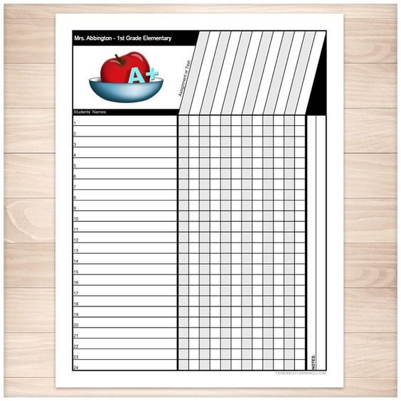 Teacher's Grade Sheet - Grade School Elementary Apple - Printable ...