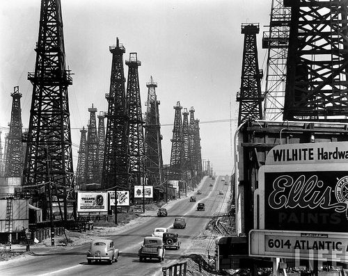 Image result for Long Beach 1948 oil derricks