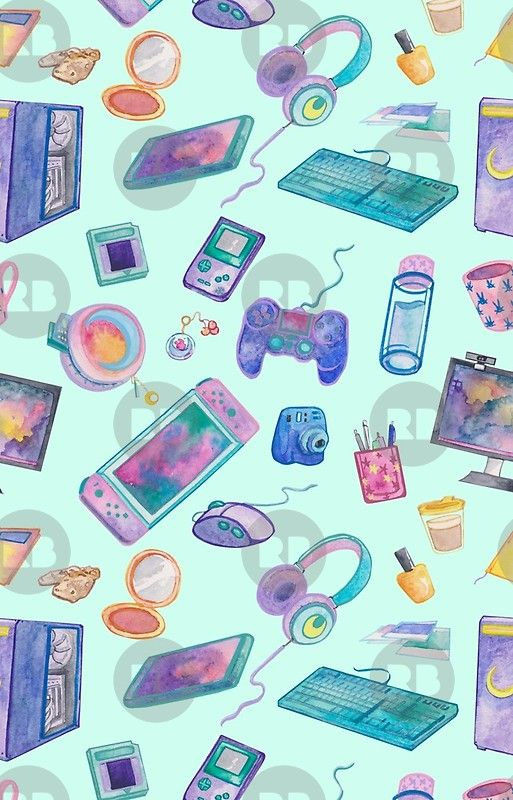Gamer Girl Seamless Pattern Green Iphone 12 Soft By Leah Henare In 2021 Gamer Girl Seamless Patterns Cute Cartoon Wallpapers