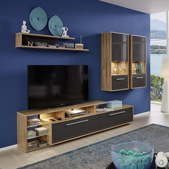 Liona Living Room Set In Glossy Grey And Rustic Oak With Led