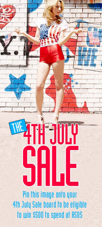 Pin this image to your own board along with fun snaps and outfits that show what 4th July means to you and you'll be entered into our competition to win $500 to spend at ASOS.com. Check out our 4th July Sale now to get inspired (US only)