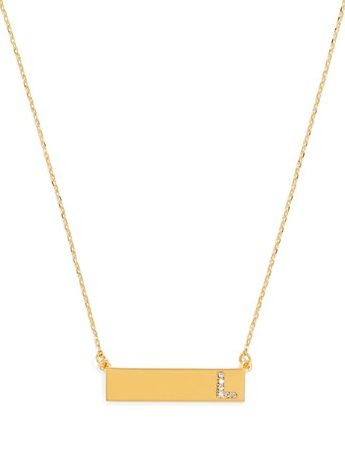 gold initial bar pendant necklace