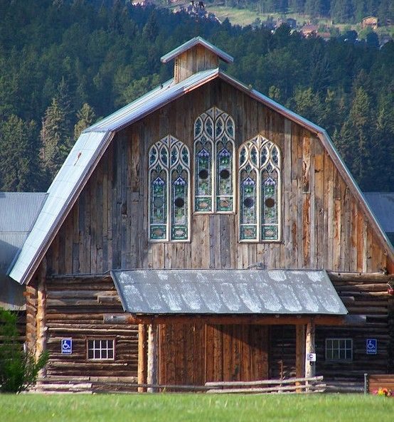 Barn chapel, Colorado. Assembled from five barns - and check out the stained glass windows! stephwools