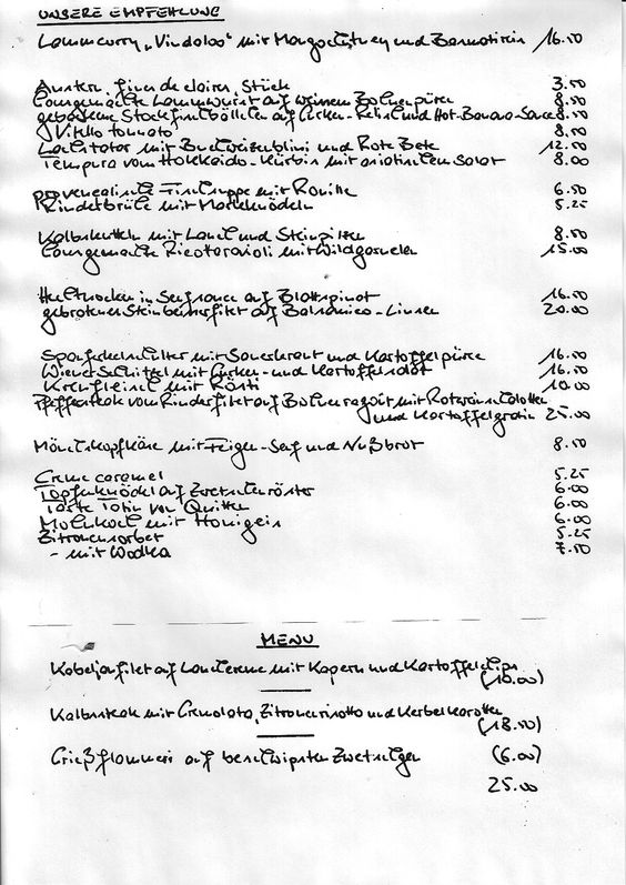 menu, Vienna, Hamburg