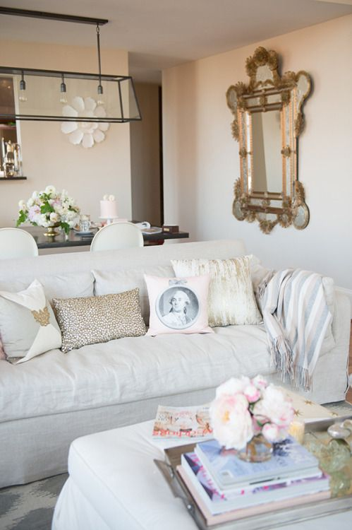 theglitterguide:  Blush + white couch