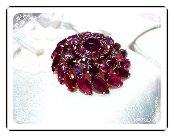 Juliana Red  Brooch - Swirling Ravishing Red Dome Brooch  D&E  Pin-751a-090810035
