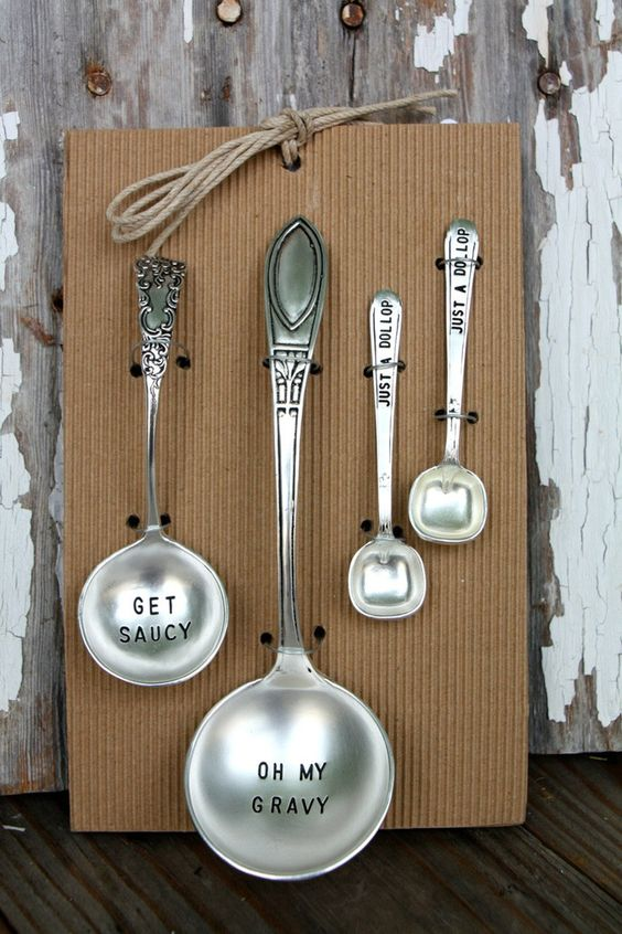 """Maybe the cutest hostess gift ever. Ladle set stamped with - """"Get Saucy"""" """"Oh My Gravy"""" and """"Just a dollop"""""""
