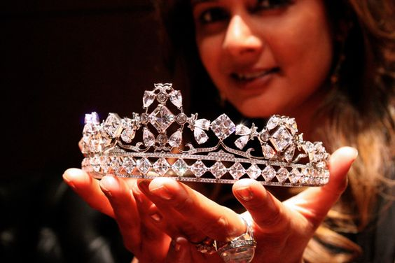 A Tiara for Tuesday...Reena Ahluwalia holds the 85-carat Royal Asscher Diamond Tiara designed as a tribute to the Royal Wedding of Prince William and Catherine Middleton