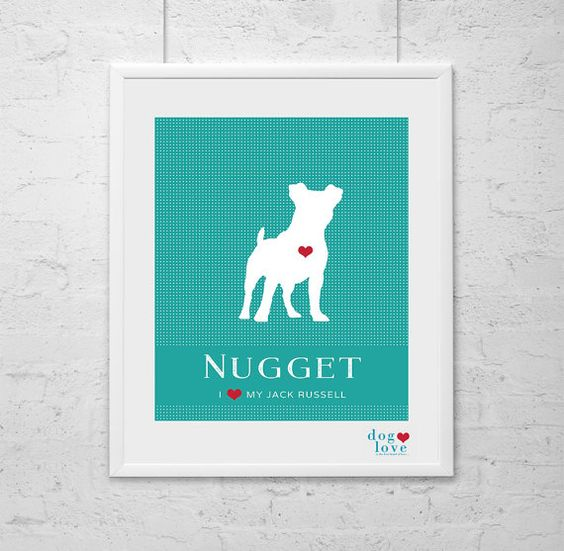 Jack Russell Dog Silhouette  Personalized 8x10 by DogLoveShoppe