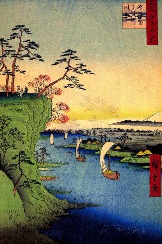 Utagawa Hiroshige View of Konodai and Tone River Plastic Sign Wall sign