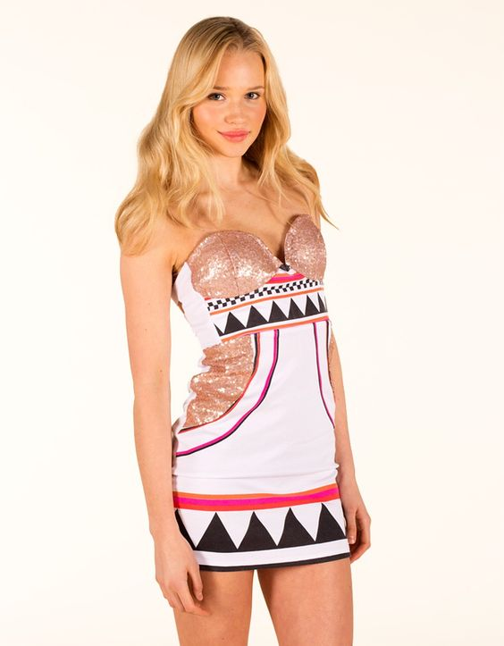 White & Pink Printed Cutout Dress with Gold Sequin Top #homecoming
